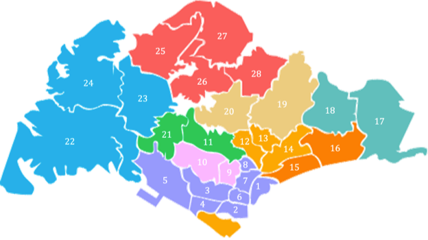Singapore District Code - Demarcation Map