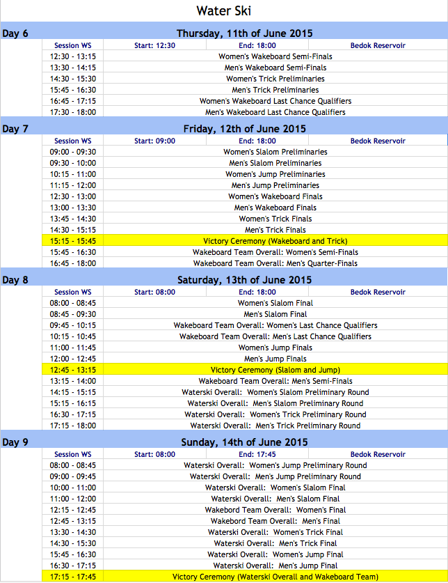 Waterski and Wakeboard Schedule - SEA Games 2015