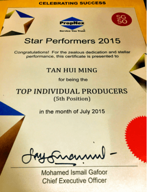 Propnex Star Performer July 2015 Certificate