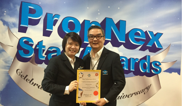 Propnex Star Performer July 2015 - Hui Ming and Francis with certificate